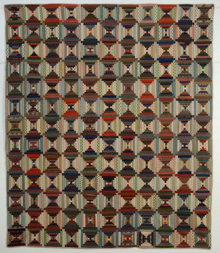 Courthouse Steps Log Cabin Quilt: Circa 1870; Pennsylvania