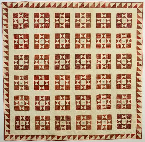 Variable Stars Signed Friendship Quilt: Circa 1840; New Jersey