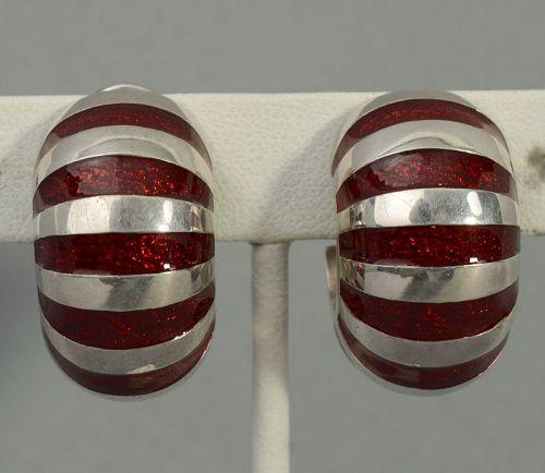 Tiffany Sterling Silver and Enamel Shrimp Earrings