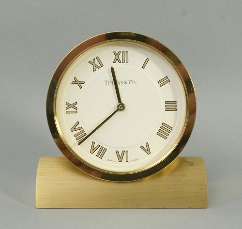 Tiffany Brass Desk Clock