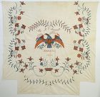 Embroidered Patriotic Eagle Summer Spread: Dated 1845; New England