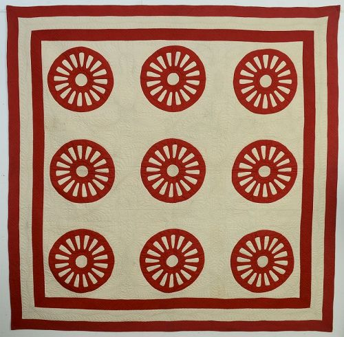 Wagon Wheels Quilt: Circa 1890; Pennsylvania