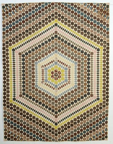 Hexagon Quilt: Circa 1850; Maine