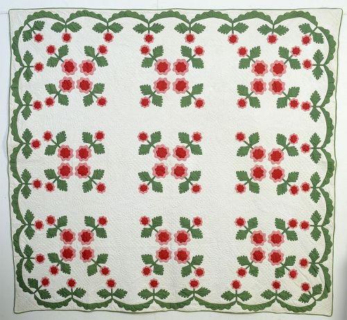 Floral Applique Quilt: Circa 1860