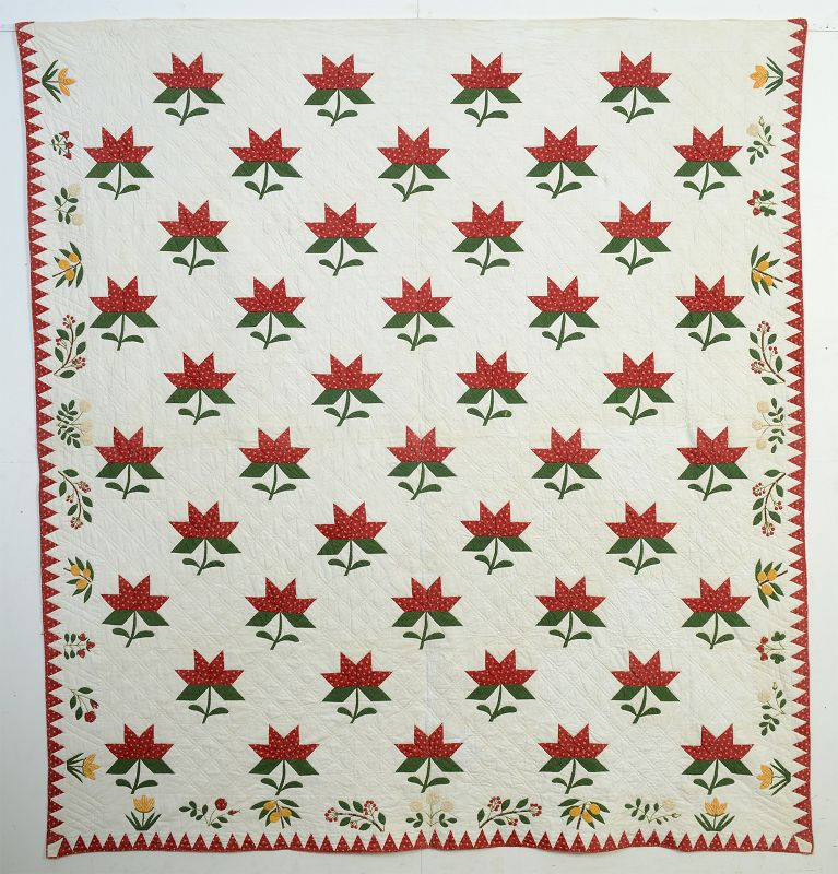Maple Leaf Quilt with Botanical Border: Circa 186-