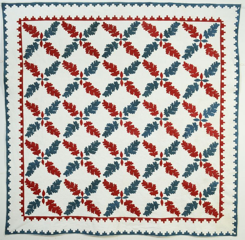 Stuffed Applique Crossed Leaves Quilt: Circa 1850; Maryland