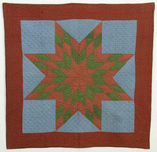 Lone Star Crib Quilt: Circa 1870; Pennsylvania