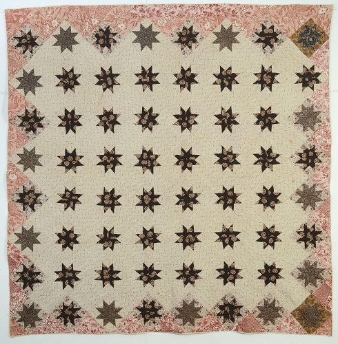 LeMoyne Stars Quilt: Circa 1830's; Vermont
