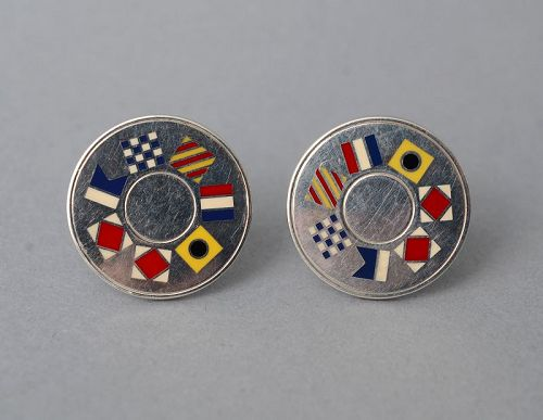 Tiffany Sterling Silver and Enamel Cufflinks