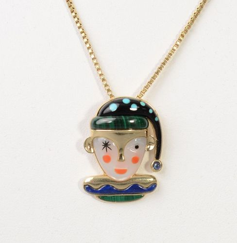 Jester Pendant on Gold Chain