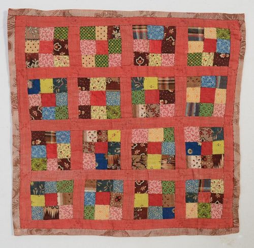 Nine Patch Doll Quilt: Circa 1880; Pennsylvania