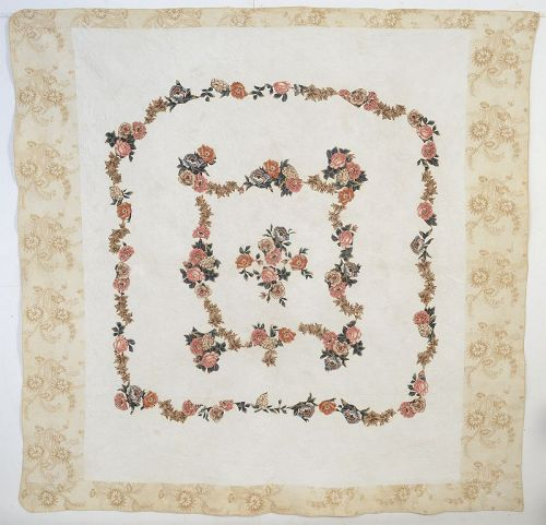 Broderie Perse Chintz Applique Quilt: Circa 1830; Maryland