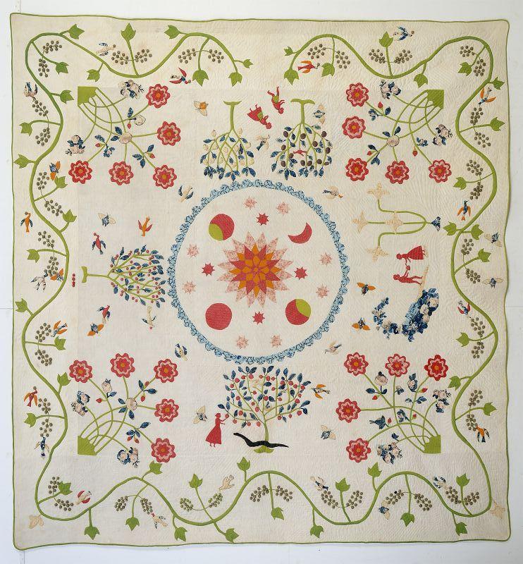 Adam and Evin the Garden of Eden Quilt: Circa 1830's; Vermont