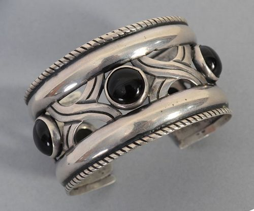 Hector Aguilar Silver and Onyx Cuff Bracelet