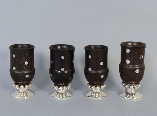 William Spratling Set of Ebony and Silver Goblets