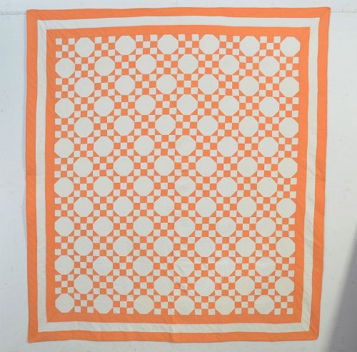 Nine Patch and Octagons Quilt: Circa 1920; Maryland