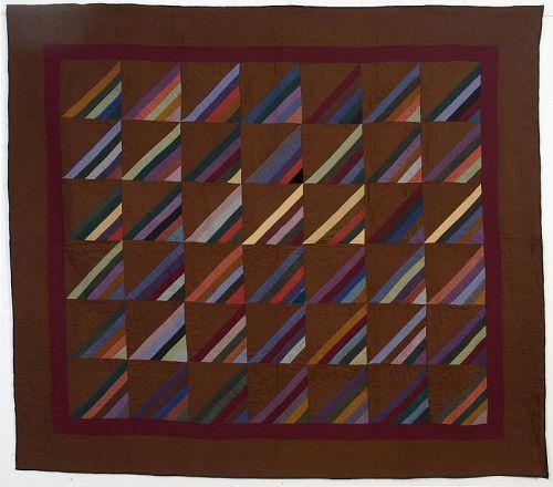 Indiana Amish Roman Stripe Quilt: Circa 1920