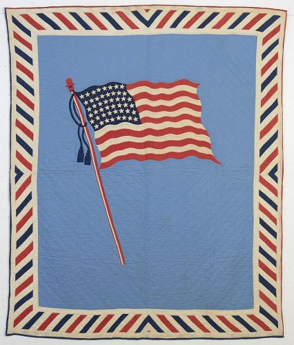 Patriotic Old Glory Flag Quilt: Circa 1918