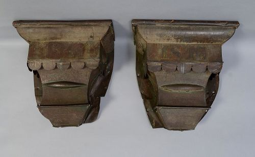Pair of Metal Downspouts Dated 1847: New York