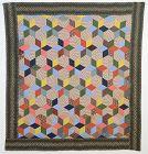 Tumbling Blocks/ Six Point Stars Quilt: Circa 1880; Pennsylvania