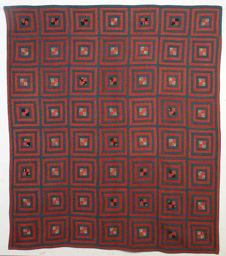 Concentric Squares Quilt with Four Patch: Circa 1880; Pennsylvania