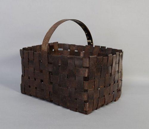 Handmade Metal Woven Basket; Circa 1900