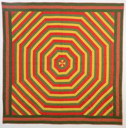 Concentric Octagons Quilt: Circa 1880;Pennsylvania