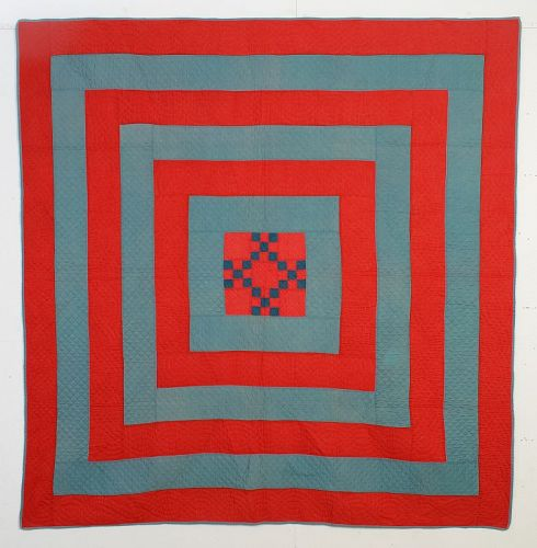 Mennonite Concentric Frames Quilt with Double Nine Patch; Circa 1880;