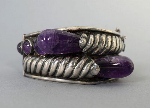 William Spratling Sterling Silver and Amethyst Bracelet
