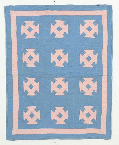 Ohio Amish Hole in the Barn Door Doll Quilt: Circa 1920