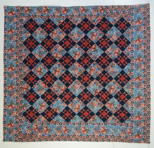 Reversible Chintz Variable Stars Quilt: Circa 1840; Pennsylvania