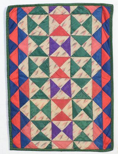 Silk Hourglass Doll Quilt: Circa 1870