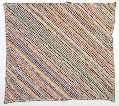 Postage Stamp Straight Furrows Quilt Top; Circa 1880's; Pa.