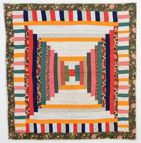 Log Cabin Crib Quilt: Circa 1880;Pennsylvania