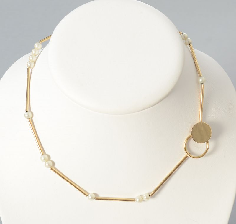 Betty Cooke Gold and Pearl Choker Necklace