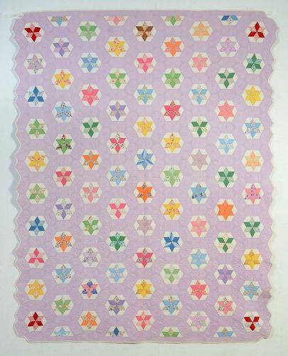 Stars in Hexagons Quilt: Circa 1930; Pennsylvania