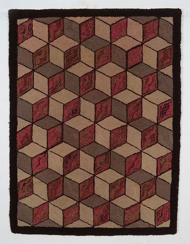 Tumbling Blocks Hooked Rug: Circa 1930; Pennsylvania
