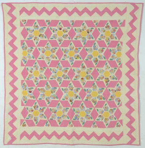 Hexagon Stars with Applique: Circa 1930; Pennsylvania