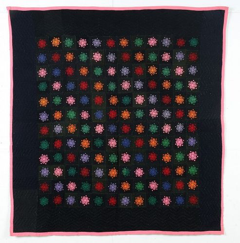 Lancaster County Amish Embroidered Quilt: Circa 1920