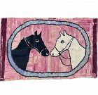 Horseheads Hooked Rug: Circa 1920; Pennsylvania