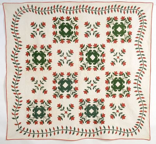Red and Green Floral Applique Quilt: Circa 1850; Virginia