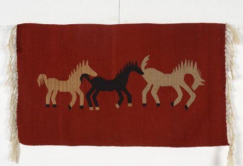 Horses Handwoven Rug: Circa 1950