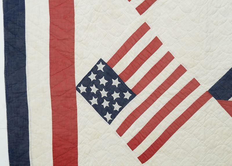 Spanish American War Patriotic Quilt: Circa 1898