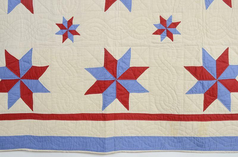Patriotic LeMoyne Stars Quilt: Circa 1930's; Pennsylvania