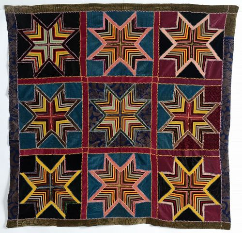 Velvet String Stars Antique Quilt: Circa 1920; Pennsylvania