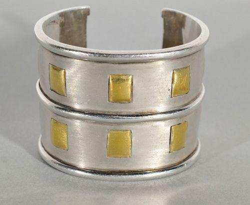 Emilia Castillo Silver and Gold Large Cuff Bracelet