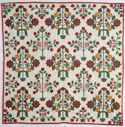 Pots of Flowers Applique Quilt: Circa 1890; Pennsylvania