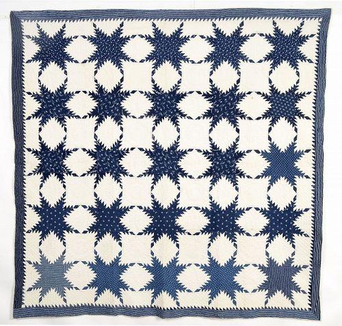 Indigo Feathered Stars Quilt: Circa 1880
