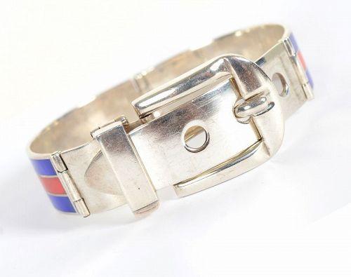 Gucci Sterling Silver and Enamel Buckle Bracelet