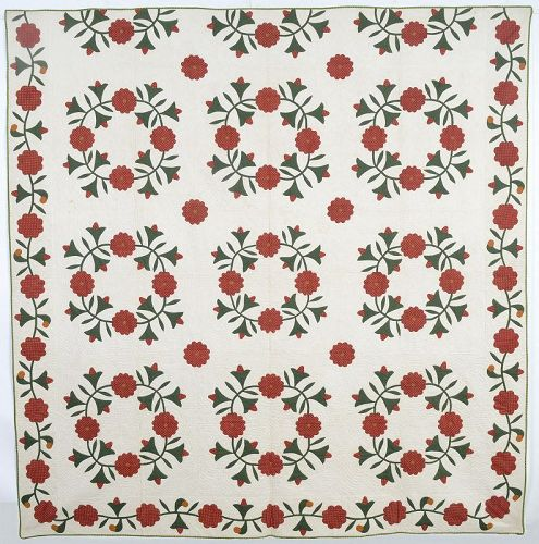 Roses and Bells Quilt: Circa 1870; Pennsylvania